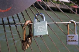 A view of an inscribed love lock attached to the railings of Pier 1 in Brooklyn on August 23, 2016. (Gordon Donovan/Yahoo News)