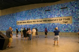 "These words are part of a larger art installation in the 9/11 Memorial Museum created in 2014 by artist Spencer Finch, titled ""Trying to Remember the Color of the Sky on That September Morning."" The installation is the focal point for Memorial Hall, the area between the two main exhibitions at bedrock in the museum. (Photo: Gordon Donovan/Yahoo News)"