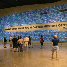 """These words are part of a larger art installation in the 9/11 Memorial Museum created in 2014 by artist Spencer Finch, titled """"Trying to Remember the Color of the Sky on That September Morning."""" The installation is the focal point for Memorial Hall, the area between the two main exhibitions at bedrock in the museum. (Photo: Gordon Donovan/Yahoo News)"""