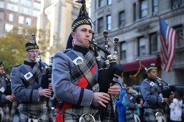 A cadet from the U.S. Military Academy at West Point plays bagpipes during the Veterans Day parade in New York City on Nov. 11, 2016. (Gordon Donovan/Yahoo News)