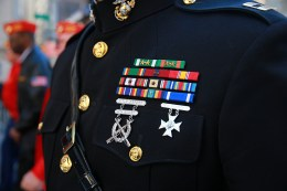 A close-up of the ribbons worn by a member of the Marine Corps during the Veterans Day parade in New York City on Nov. 11, 2016. (Gordon Donovan/Yahoo News)