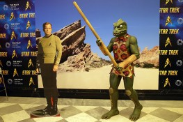 Captain Kirk and reptilian Captain Gorn on exhibit at the Paley Center. (Photo: Gordon Donovan/Yahoo News)