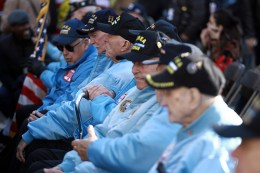 Veterans wait in Madison Square Park before the Veterans Day parade in New York City on Nov. 11, 2016. (Gordon Donovan/Yahoo News)
