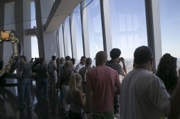 People check out the views from the observatory at One World Trade Center on Aug. 23, 2016 in New York City. (Gordon Donovan/Yahoo News)