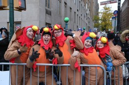 People dressed as turkeys are prepared for the start of the 90th Macy's Thanksgiving Day Parade in New York, Thursday, Nov. 24, 2016. (Gordon Donovan/Yahoo News)