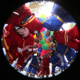 The Hi-Roller Skating Clowns pose for a photo before heading down Central Park West in the 90th Macy's Thanksgiving Day Parade in New York, Thursday, Nov. 24, 2016. (Gordon Donovan/Yahoo News)