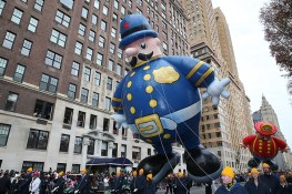 The Harold the Policeman balloon floats in the 90th Macy's Thanksgiving Day Parade in New York, Thursday, Nov. 24, 2016. (Gordon Donovan/Yahoo News)