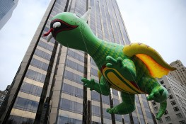 The Happy Dragon balloon floats down Central Park West in the 90th Macy's Thanksgiving Day Parade in New York, Thursday, Nov. 24, 2016. (Gordon Donovan/Yahoo News)