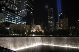 The Tribute in Light rises above the New York City skyline from the National September 11 Memorial & Museum on Sept. 10, 2016, the 15th anniversary of the 2001 terrorist attacks. (Gordon Donovan/Yahoo News)