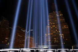 The Tribute in Light rises above the New York skyline from the National September 11 Memorial & Museum on Sept. 10, 2016. (Gordon Donovan/Yahoo News)