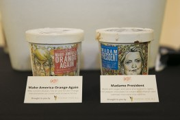 Donald Trump and Hillary Clinton ice cream being served at the Yahoo News Studios on election night, Nov. 6, 2016. (Gordon Donovan/Yahoo News)