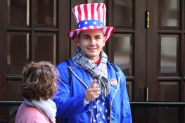 A voter dressed as Uncle Sam waits in line to vote on Tuesday, Nov. 8, 2016, in New York. (Gordon Donovan/Yahoo News)