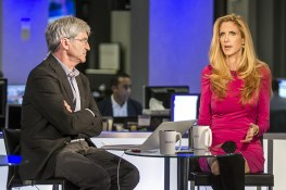 Ann Coulter is interviewed at the Yahoo News Studios by Yahoo News Chief Investigative Correspondent Michael Isikoff on elections night, Tuesday, Nov. 6, 2016. (Gordon Donovan/Yahoo News)