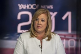 Republican political consultant and strategist Katie Packer joins a panel hosted by Katie Couric at the Yahoo News Studios on election night on Tuesday, Nov. 6, 2016. (Gordon Donovan/Yahoo News)