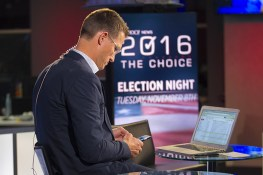 Behind the scenes photo of Jon Ward at the Yahoo News Studios on election night on Tuesday, Nov. 8, 2016. (Gordon Donovan/Yahoo News)