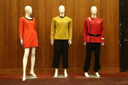 "Costumes on display at the ""Star Trek'' 50th anniversary exhibit. (Gordon Donovan/Yahoo News)"