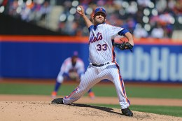 New York Mets starting pitcher Matt Harvey (33) throws in the sixth inning of a baseball game against the Philadelphia Phillies at Citi Field in New York, Sunday, April 10, 2016. (Gordon Donovan)