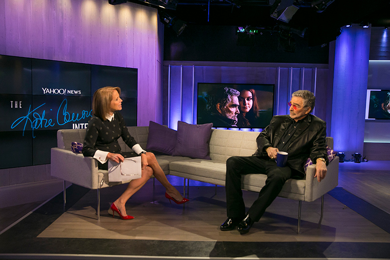 Yahoo Global News Anchor Katie Couric interviews actor Burt Reynolds at the Yahoo Studios in New York City on April 21, 2017. (Gordon Donovan/Yahoo News)