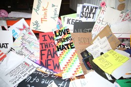 Discarded signs from Women's March in New York City on Jan. 21, 2017. (Gordon Donovan/Yahoo News)