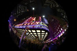 Large crowds fill the sidewalks outside Radio City Music Hall in New York City for the annual Christmas shows, and shopping. Photo taken with a fish eye lens. (Gordon Donovan/Yahoo News)