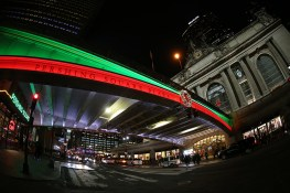 Colored lights illuminate along the bridge above E. 42nd Street at Pershing Square Plaza across from Grand Central Terminal in New York City. (Gordon Donovan/Yahoo News)
