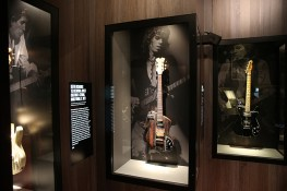 Keith Richards' Ted Newman Jones Custom 5-String Dark Wood, C. 1971 and Keith Richards 1972 Fender Telecaster on display in the Guitar Gallery of The Rolling Stones Exhibitionism. (Gordon Donovan/Yahoo News)
