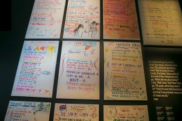 "Various set lists from the Rolling Stones tours are seen in the exhibit, ""Exhibitionism."" (Gordon Donovan/Yahoo News)"
