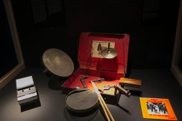 "Other unique items include the cassette player on which Keith famously sketched out the idea for ""(I Can't Get No) Satisfaction"" just before falling asleep in a Florida motel room and the toy drum kit that Charlie Watts used in the recording of ""Street Fighting Man."" (Gordon Donovan/Yahoo News)"