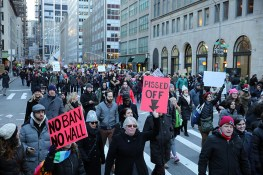 Demonstrators march up Church Avenue in New York, Jan. 29, 2017, protesting President Donald Trump's immigration order. (Gordon Donovan/Yahoo News)