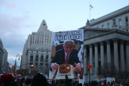 People hold up signs in New York's Foley Square in New York, Jan. 29, 2017, protesting President Donald Trump's immigration order. (Gordon Donovan/Yahoo News)