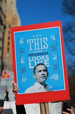 "A demonstrator holds up a sign featuring former U.S. President Barack Obama during the ""Not My President's Day"" rally at Central Park West in New York City on Feb. 20, 2017. (Gordon Donovan/Yahoo News)"