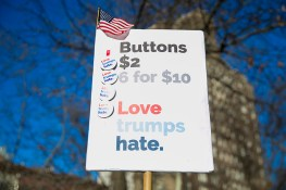 Buttons for sale at a rally in front of the Stonewall Inn in solidarity with immigrants, asylum seekers, refugees, and the LGBT community, Feb. 4, 2017 in New York. (Photo: Gordon Donovan/Yahoo News)