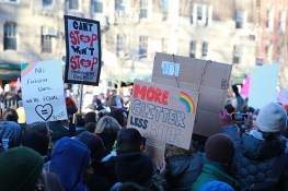 People protest at a rally in front of the Stonewall Inn in solidarity with immigrants, asylum seekers, refugees, and the LGBT community, Feb. 4, 2017 in New York. The demonstrators protested the policies of U.S. President Donald Trump. (Photo: Gordon Donovan/Yahoo News)