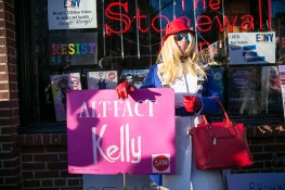 A man in drag campaigns in front of the Stonewall Inn in solidarity with immigrants, asylum seekers, refugees, and the LGBT community, Feb. 4, 2017 in New York. (Photo: Gordon Donovan/Yahoo News)