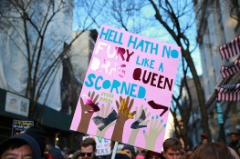 A person holds up a sign at a rally in solidarity with immigrants, asylum seekers, refugees, and the LGBT community, Feb. 4, 2017 in New York. (Photo: Gordon Donovan/Yahoo News)