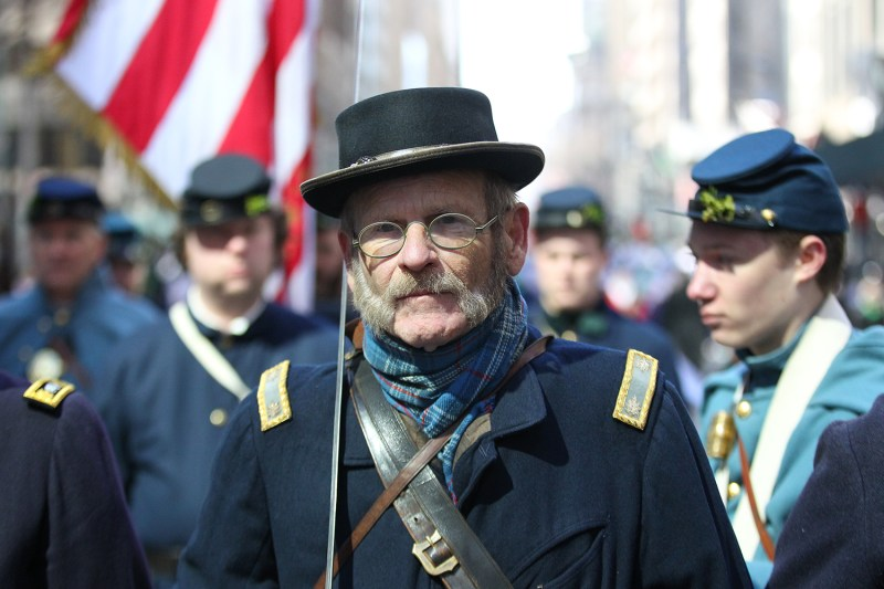 A member of the Irish Brigade Honor Guard stands at attention during the St. Patrick's Day Parade, March 17, 2017, in New York. (Gordon Donovan/Yahoo News)