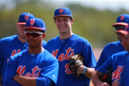 New York Mets prospect Gabriel Llanes is all smiles during pitchers meeting at the New York Mets spring training facility in Port St. Lucie, Fl., Wednesday, March 1, 2017. (Gordon Donovan/Yahoo Sports)