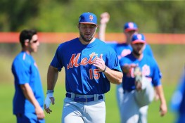 Former Heisman Trophy winner Tim Tebow stretches during workouts at the New York Mets spring training facility at First Data Field in Port St. Lucie, Fl., Sunday, Feb. 26, 2017. (Gordon Donovan/Yahoo Sports)