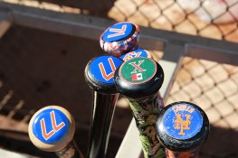 New York Mets players bats sit in a rack during batting practice at the Mets spring training facility in Port St. Lucie, Fl. on Sunday, Feb. 26, 2017. (Gordon Donovan/Yahoo Sports)
