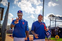 New York Mets Champ Stuart and Dominic Smith shows some love for teh camera before workouts at the Mets spring training facility in Port St. Lucie, Fl., Monday, Feb. 27, 2017. (Gordon Donovan/Yahoo Sports)