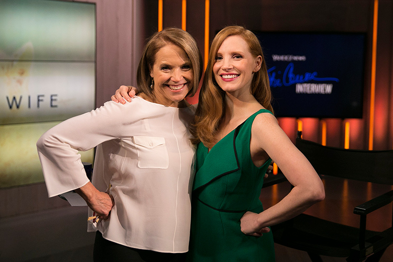 Yahoo Global News Anchor Katie Couric poses with actress Jessica Chastain after an interview at the Yahoo Studios in New York City on March 20, 2017. (Gordon Donovan/Yahoo News)