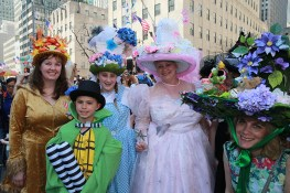 A group of people look like something from a Harry Potter movie pose for a photo during the annual Easter Parade on the Fifth Avenue in New York on April 16, 2017. (Photo: Gordon Donovan/Yahoo News)