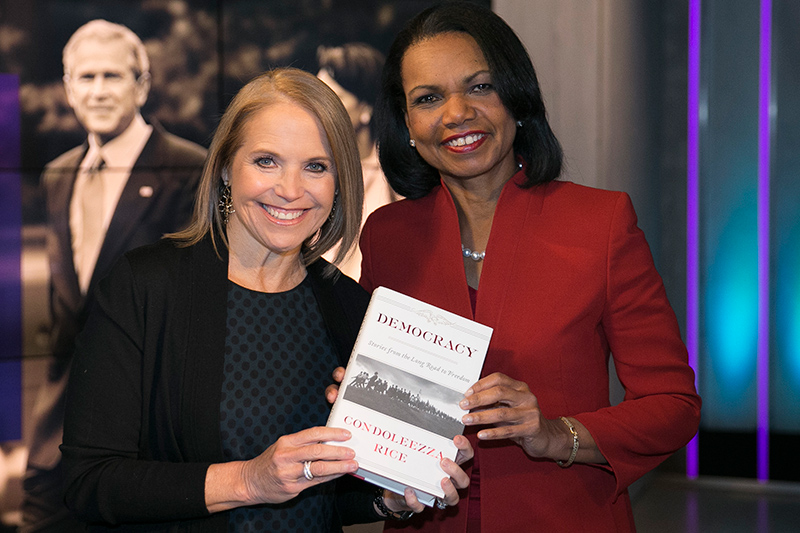 Yahoo Global News Anchor Katie Couric poses for a photo with former United States Secretary of State Condoleezza Rice after an interview at the Yahoo Studios in New York City on May 9, 2017. (Gordon Donovan/Yahoo News)