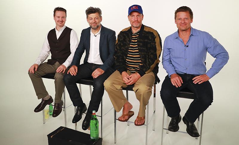 "The cast and director of the upcoming ""War for the Planet of the Apes"": left to right, director Matt Reeves and actors Andy Serkis, Woody Harrelson and Steve Zahn, at the Yahoo Studios in New York City on July 10, 2017. (Gordon Donovan/Yahoo News)"