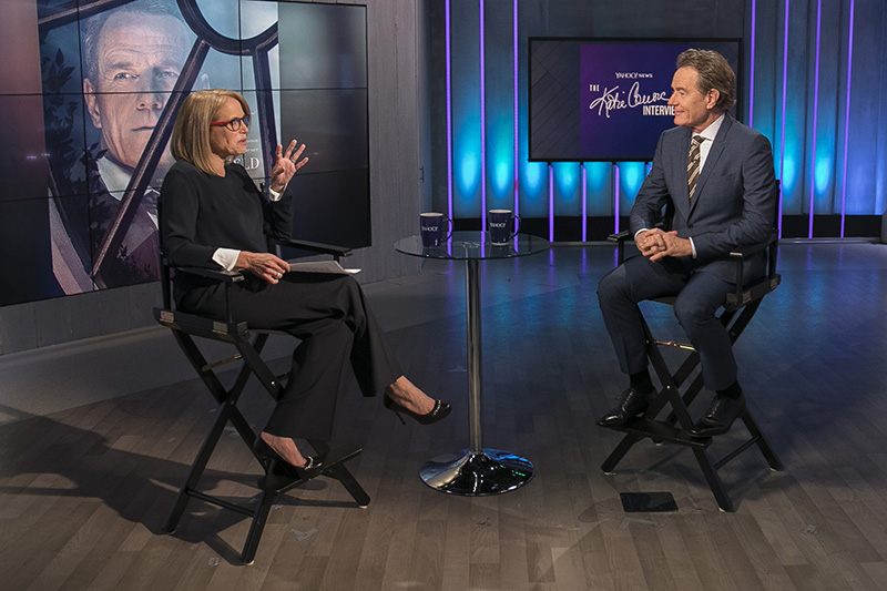Yahoo Global News Anchor Katie Couric interviews actor Bryan Cranston at the Yahoo Studios in New York City on May 25, 2017. (Gordon Donovan/Yahoo News)