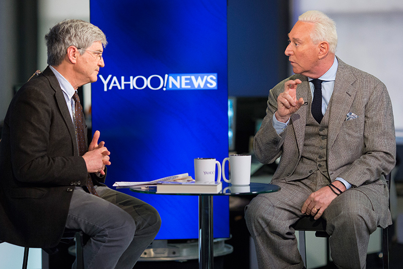 Yahoo Chief Investigative Correspondent Michael Isikoff interviews Republican strategist Roger Stone at the Yahoo Studios in New York City on March 30, 2017. (Gordon Donovan/Yahoo News)