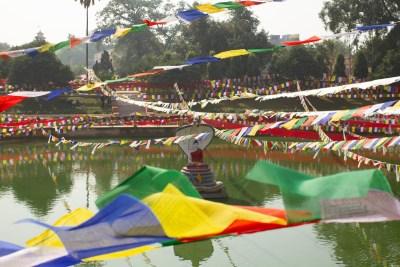 Prayer Flags over Muchalinda Lake