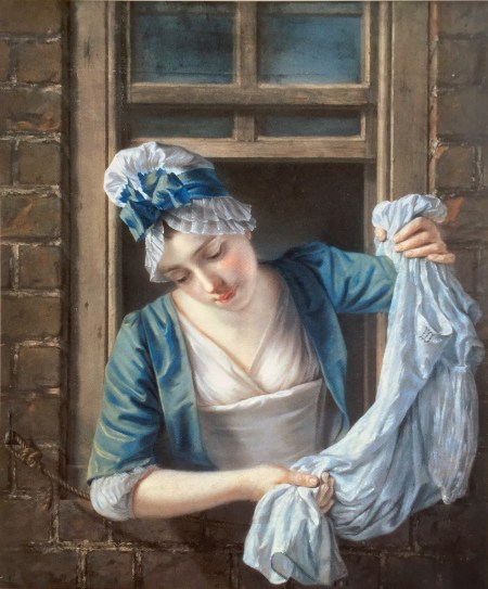 Henry Robert Morland A laundry maid leaning out of a sash window