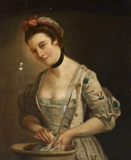 unknown artist; Portrait of a Lady in a Floral Dress Washing Clothes