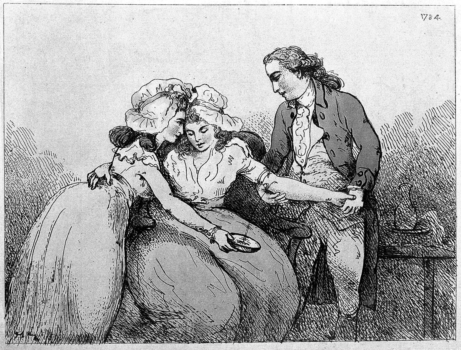 L0005745 A surgeon bleeding the arm of a young woman: she is being co
